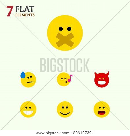 Flat Icon Emoji Set Of Tears, Descant, Wonder And Other Vector Objects