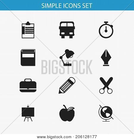 Set Of 12 Editable Education Icons. Includes Symbols Such As Supervision List  , Painter's Stand, Eraser