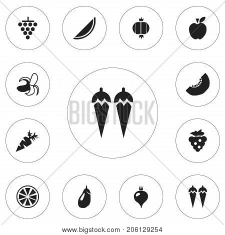 Set Of 12 Editable Berry Icons. Includes Symbols Such As Banana, Lemon, Bulb And More