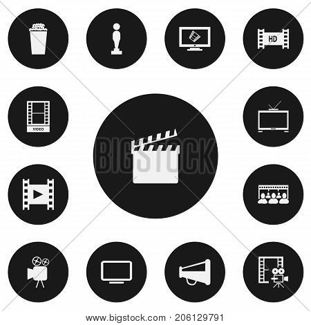 Set Of 13 Editable Movie Icons. Includes Symbols Such As Audience, Camera Strip, Hd Tape And More