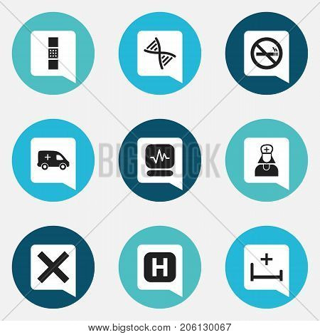 Set Of 9 Editable Clinic Icons. Includes Symbols Such As Genome, Hospital Assistant, No Check And More
