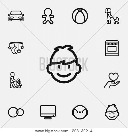 Set Of 12 Editable Kin Outline Icons. Includes Symbols Such As Son, Monitor, Wizard And More