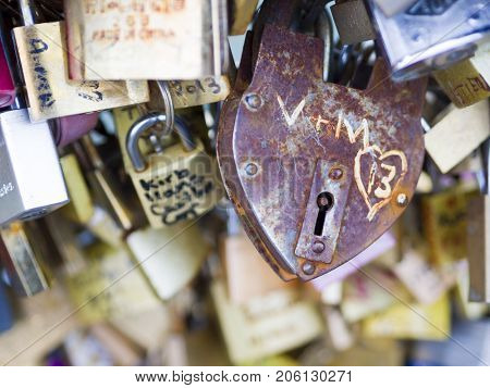 PARIS - May 6: Love Padlocks at Pont de l'Archevche on May 6, 2017, in Paris. The thousands of locks of loving couples symbolize love forever.