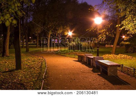 Night view of park and footpath in Yusupov Garden Saint Petersburg Russia