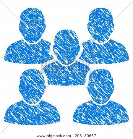 Grunge Friends Crowd icon with grunge design and scratched texture. Unclean vector blue Friends Crowd pictogram for rubber seal stamp imitations and watermarks. Draft sign symbol.