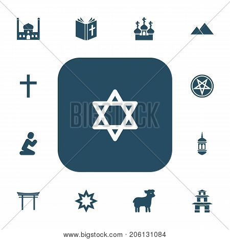 Set Of 13 Editable Dyne Icons. Includes Symbols Such As Giza, Minaret, Crucifix And More