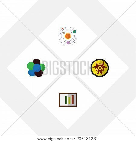 Flat Icon Science Set Of Danger, Proton, Milky Way And Other Vector Objects