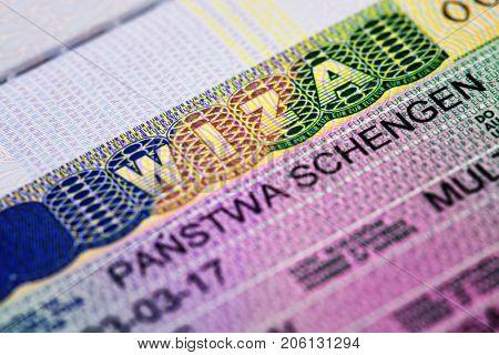 Macro photo of shengen visa