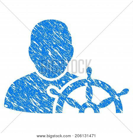 Grunge Navigation Captain icon with grunge design and scratched texture. Unclean vector blue Navigation Captain pictogram for rubber seal stamp imitations and watermarks. Draft emblem symbol.