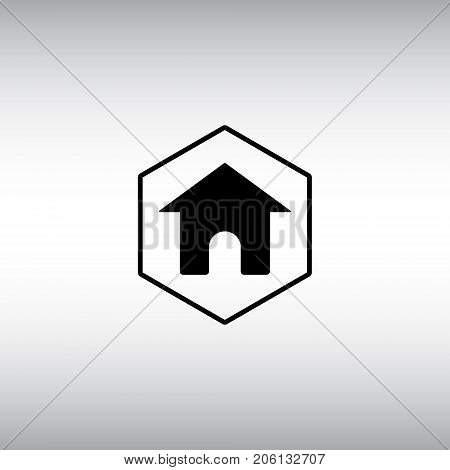 Home flat vector sign. Isolated homepage vector icon. Homepage hexagon badge.