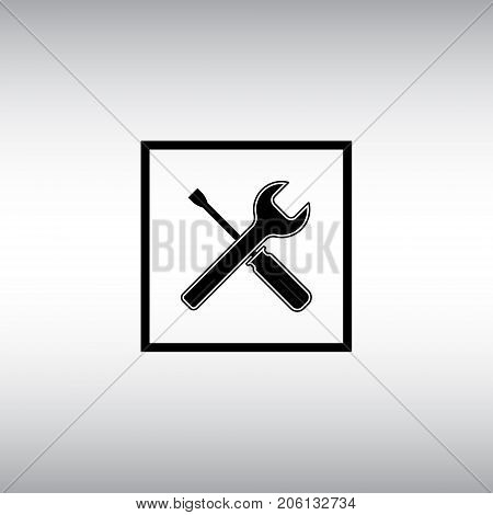 Screwdriver and wrench flat vector icon. Screwdriver and wrench isolated vector sign. Settings menu square button.