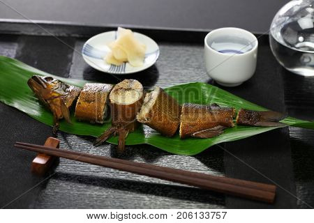 komochi ayu no kanroni, sweetfish with roe simmered in soy sauce and sugar, japanese appetizer for sake
