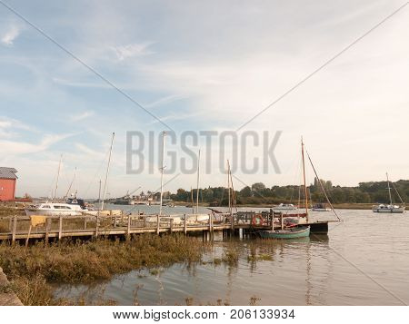Dock Harbour Boats Moored In River Marina Stream Landscape