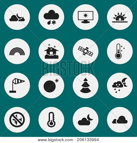 Set Of 16 Editable Climate Icons. Includes Symbols Such As Sky Night, Shelter, Sputnik And More