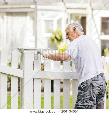 Active senior man painting a white picket fence with warm toning
