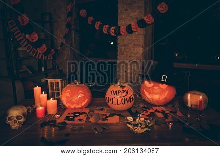 Concept Of Hallows Eve. Preparing For Paty In Mystery Interior - Cutted Pumpkin, Fall Leaves, Spider