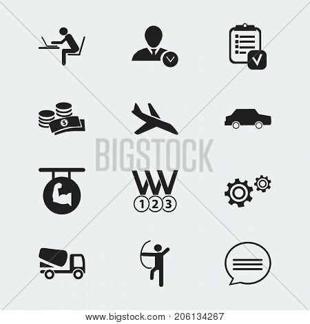 Set Of 12 Editable Complicated Icons. Includes Symbols Such As Lorry, Bowman, Coins And More