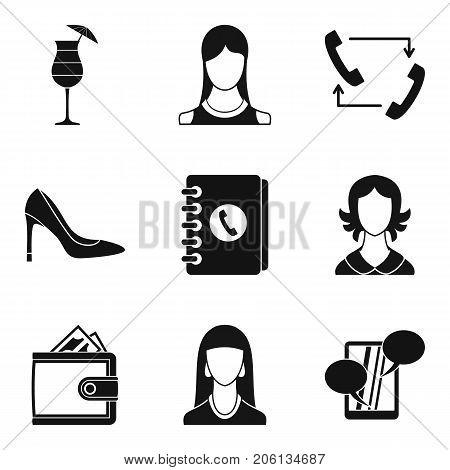 Secretary icons set. Simple set of 9 secretary vector icons for web isolated on white background