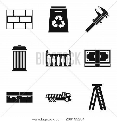 Wall mounting icons set. Simple set of 9 wall mounting vector icons for web isolated on white background
