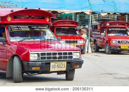 Cars On Bus Station. Thailand