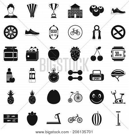 Strength icons set. Simple style of 36 strength vector icons for web isolated on white background