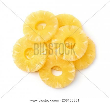 Top view of canned pineapple rings isolated on white