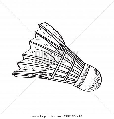 Isolated sketch of a badminton shuttlecock, Vector illustration