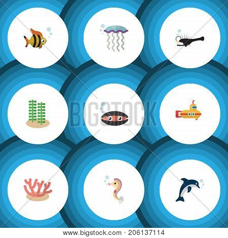 Flat Icon Sea Set Of Scallop, Fish, Periscope And Other Vector Objects