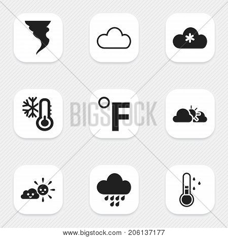 Set Of 9 Editable Climate Icons. Includes Symbols Such As Rainstorm, Frost Temperature, Tornado And More