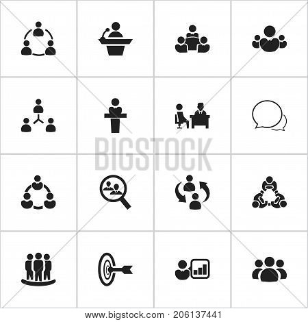 Set Of 16 Editable Team Icons. Includes Symbols Such As Conversation, Goal, Human Resouces And More