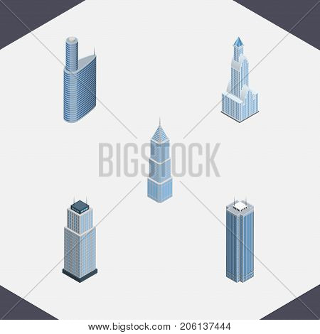 Isometric Skyscraper Set Of Skyscraper, Tower, Building And Other Vector Objects