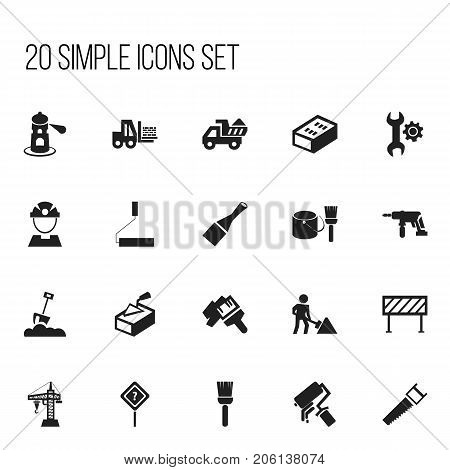 Set Of 20 Editable Building Icons. Includes Symbols Such As Whisk, Seamark, Barrier And More