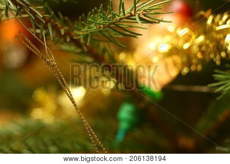 This photo of christmas tree in evening with lights on is inducing christmas atmosphere.