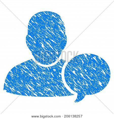 Grunge User Hint Balloon icon with grunge design and unclean texture. Unclean vector blue User Hint Balloon pictogram for rubber seal stamp imitations and watermarks. Draft sign symbol.