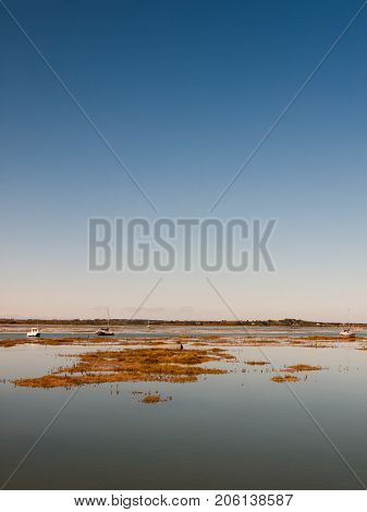 Peaceful Blue Space River Estuary Scene Outside Bright Sunny Day Boats Moored
