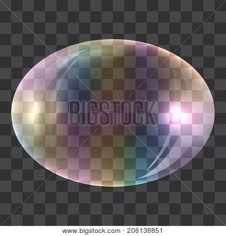 Oval soap bubble concept background. Realistic illustration of oval soap bubble vector concept background for web design