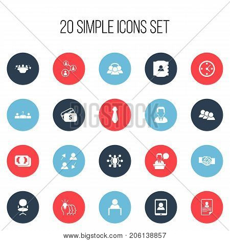 Set Of 20 Editable Business Icons. Includes Symbols Such As Clock, Cravat, Smartphone And More