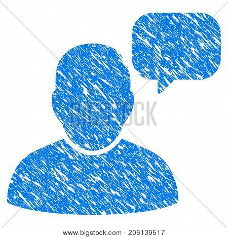 Grunge User Message Cloud icon with grunge design and dirty texture. Unclean vector blue User Message Cloud pictogram for rubber seal stamp imitations and watermarks. Draft sign symbol.