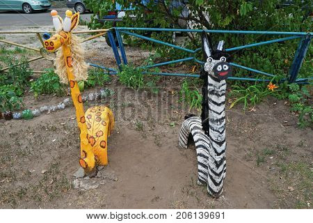 Animals made of secondary raw materials on playground