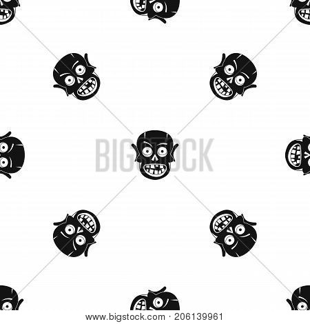 Living dead pattern repeat seamless in black color for any design. Vector geometric illustration