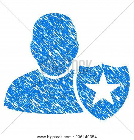 Grunge User Protection Shield icon with grunge design and unclean texture. Unclean vector blue User Protection Shield pictogram for rubber seal stamp imitations and watermarks. Draft emblem symbol.