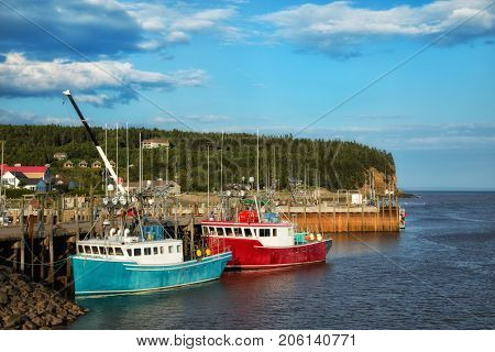 Fishing boats in the bay of Fundy in New Brunswick