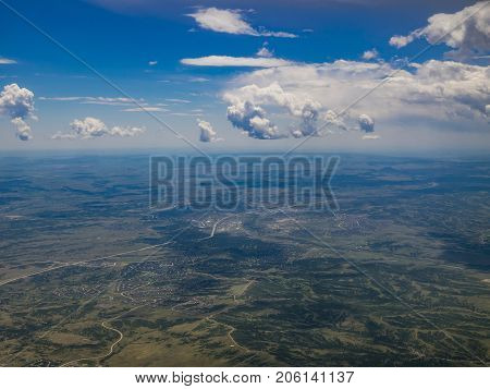 Aerial View Of Highlands Ranch And Greenwood Village, View From Window Seat In An Airplane