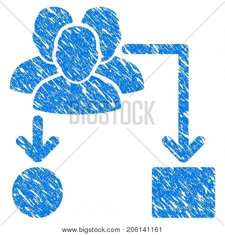 Grunge User Routing Scheme icon with grunge design and unclean texture. Unclean vector blue User Routing Scheme pictogram for rubber seal stamp imitations and watermarks. Draft sticker symbol.