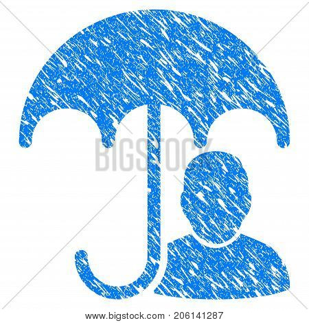 Grunge User Safety Umbrella icon with grunge design and dust texture. Unclean vector blue User Safety Umbrella pictogram for rubber seal stamp imitations and watermarks. Draft sign symbol.
