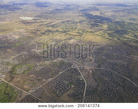 Aerial View Of Greenwood Village, View From Window Seat In An Airplane
