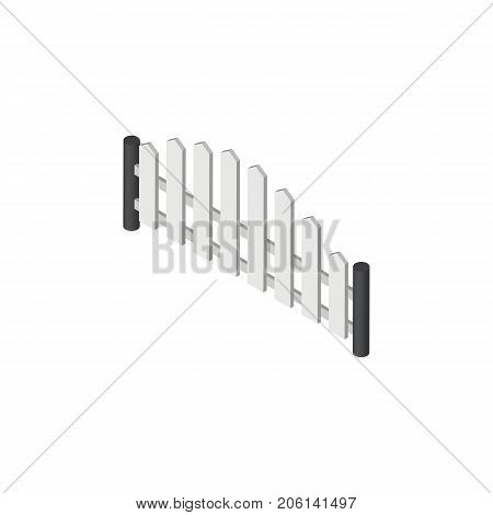 Barricade Vector Element Can Be Used For Fence, Barricade, Wooden Design Concept.  Isolated Wooden Fence Isometric.