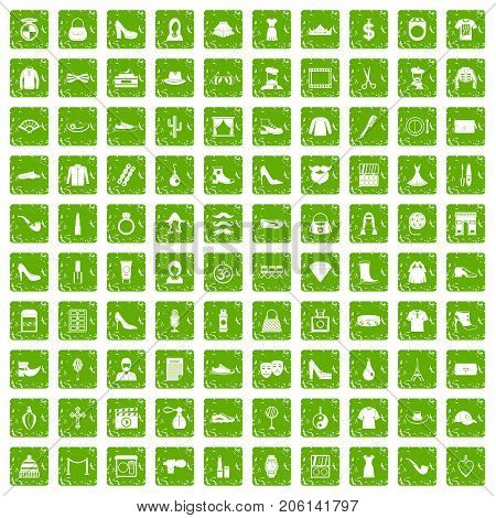 100 stylist icons set in grunge style green color isolated on white background vector illustration