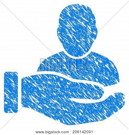 Grunge User Support Hand icon with grunge design and scratched texture. Unclean vector blue User Support Hand pictogram for rubber seal stamp imitations and watermarks. Draft emblem symbol.