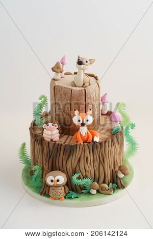Enchanted forest woodland themed fondant cake with a hedgehog, deer, owl, fox, snail, tree trunk, ferns, mushrooms and leaves on white background
